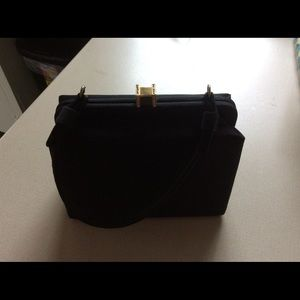 Vintage evening bag. Black with jeweled clasp